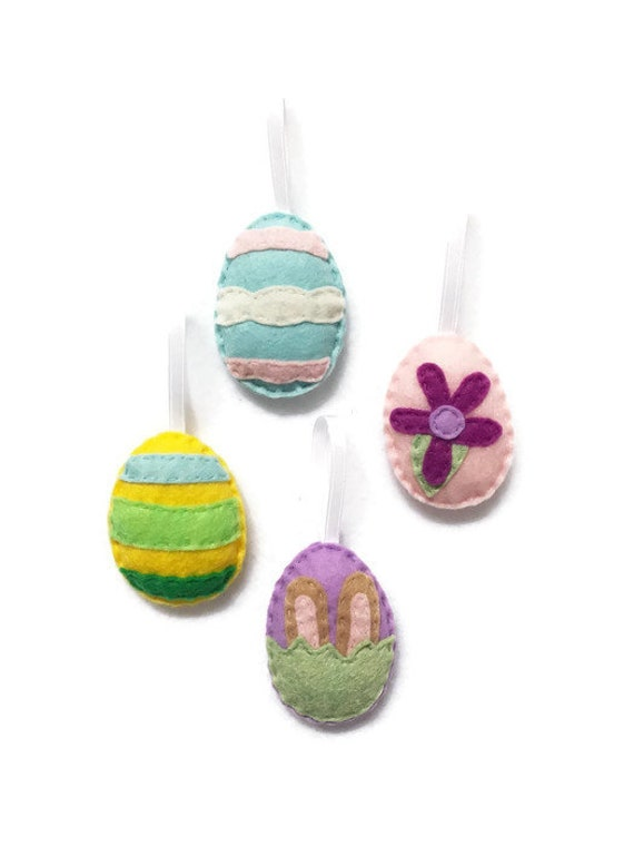 Easter Egg Ornament Set of 4 - Felt Hand Stitched Decor