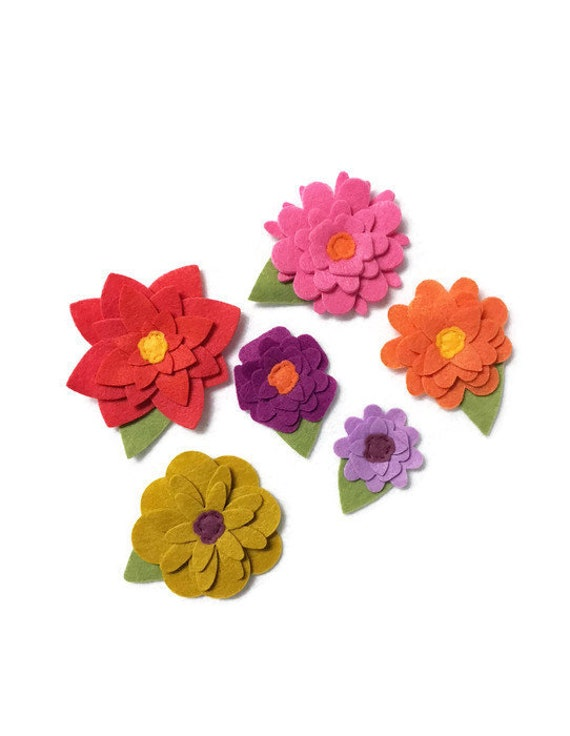 Spring Felt Flowers, Loose Flowers for Crafting and Decor, Bright Spring and Summer Blooms