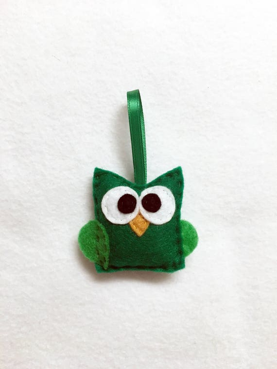 Owl Ornament, Christmas Ornament, Timothy the Baby Green Owl, Felt Animal, Bird Ornament