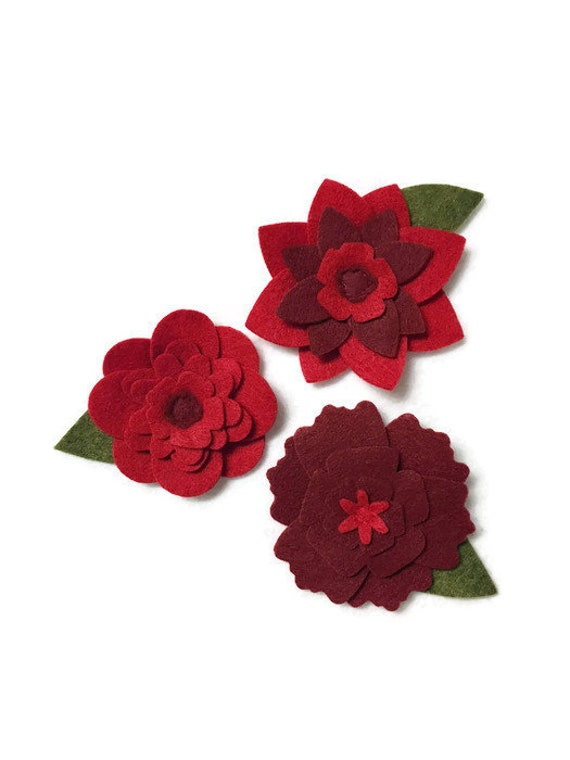 Red Felt Flowers, Loose Flowers for Crafting and Decor