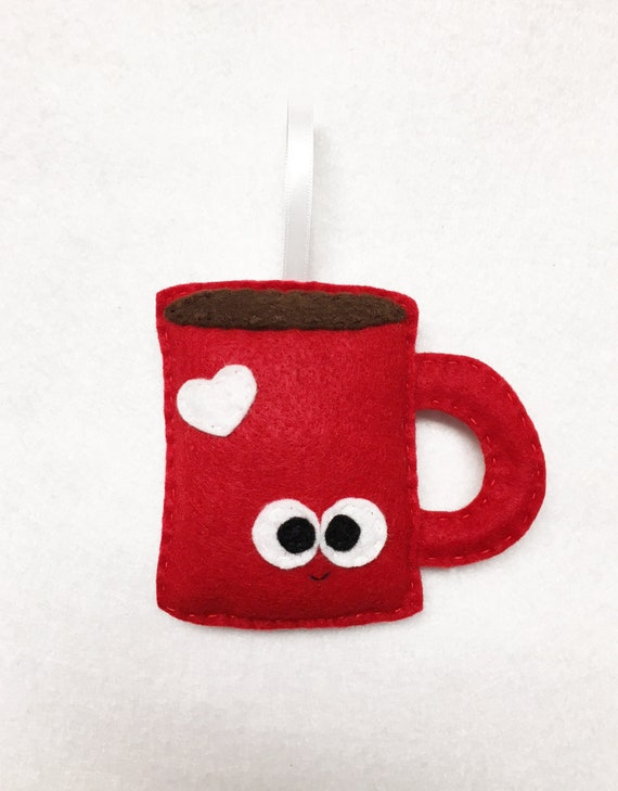 Coffee Mug Ornament, Christmas Ornament, Dillon the Coffee Mug - Tea Cocoa Mug Ornament