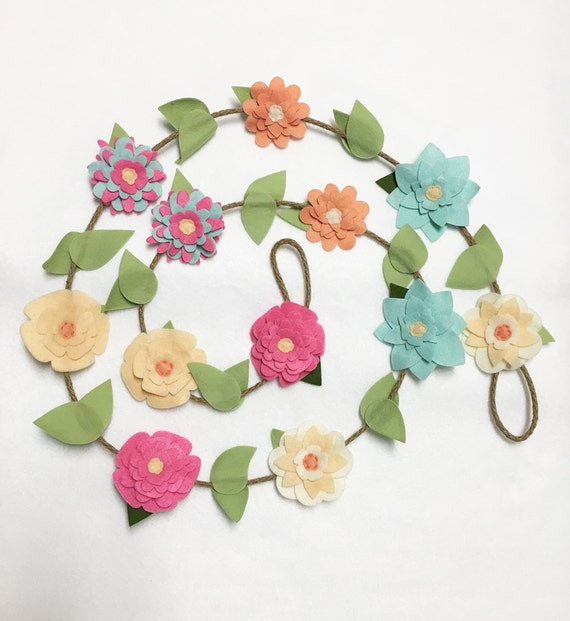 Flower Garland, Spring Flowers, Felt Flower Garland - Made to Order, Posable Twine, Floral Garland, Wedding and Party Decoration