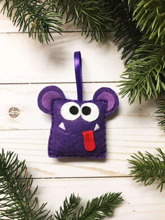 Monster Ornament, Christmas Ornament - Allison the Square Monster