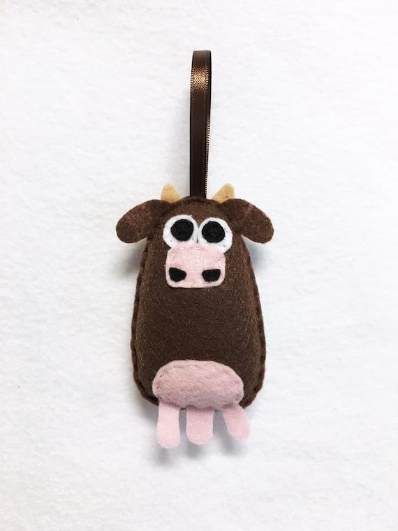 Cow Ornament, Christmas Ornament, Felt Ornament, Ellie the Cow, Felt Animals, Stocking Stuffer, Farm Animal Ornament