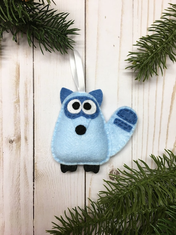 Raccoon Ornament, Christmas Ornament, Igon the Blue Raccoon