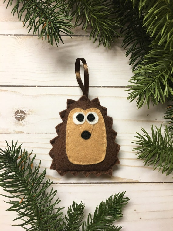 Hedgehog Ornament, Christmas Ornament, Herb the Brown Hedgehog