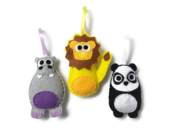 Zoo Animals Ornaments, Hippo, Lion, Panda - Set of Three Ornaments, Birthday Favors, Nursery Decoration, Christmas Ornament