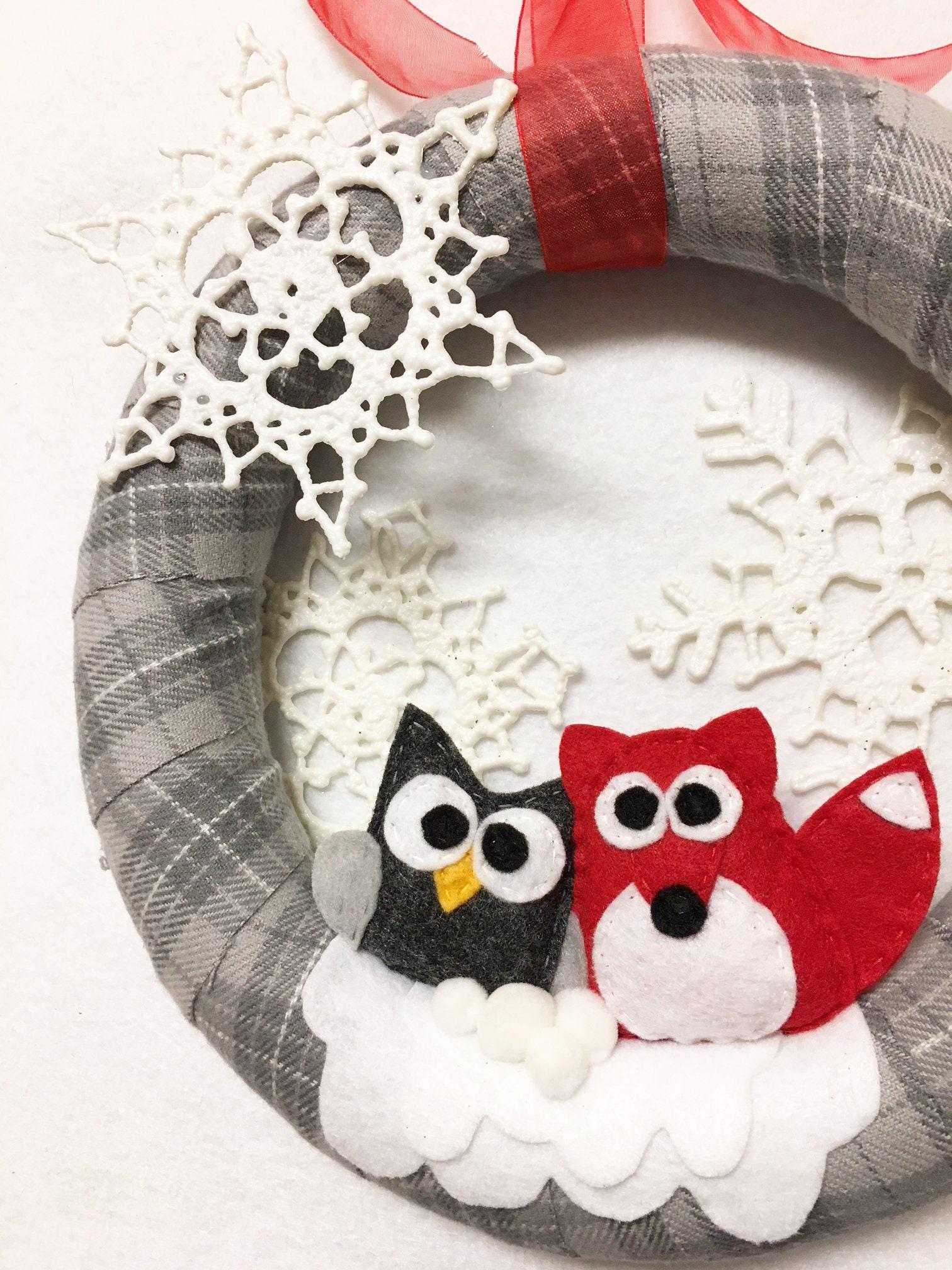 Gray Plaid Wreath, Christmas Owl and Fox Wreath, Winter