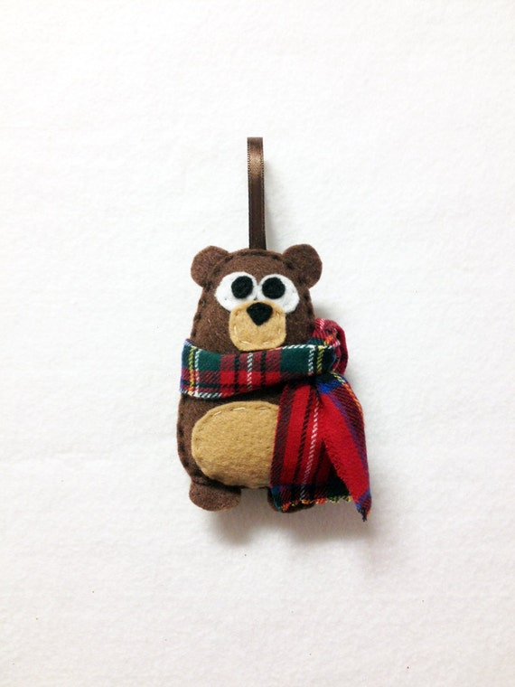 Felt bear ornament, Woodland Christmas ornaments, Holiday decorations, Rustic Christmas ornaments, Best selling items, Kids stocking stuffer