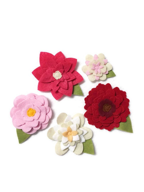 Felt Flowers, Loose Flowers for Crafting and Decor, Bright Pink Flower Blooms
