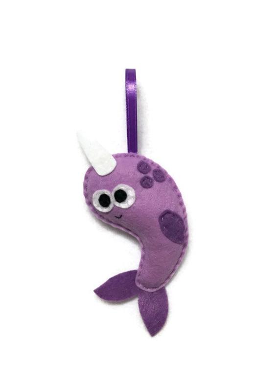 Narwhal Ornament, Christmas Ornament, Brutus the Narwhal, Felt Animal, Ocean Animal, Home Decor, Plush Narwhal Kid Friendly