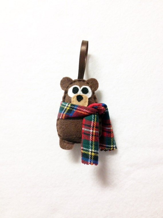 Bear Ornament, Felt Christmas Ornament - Willis the Baby Brown Bear with a Plaid Scarf, Baby Bear Plush, Made to Order