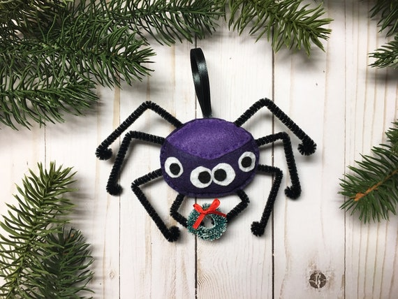 Spider Ornament, Christmas Spider Ornament, Claire the Spider, Felt Keepsake Decor - Limited Edition