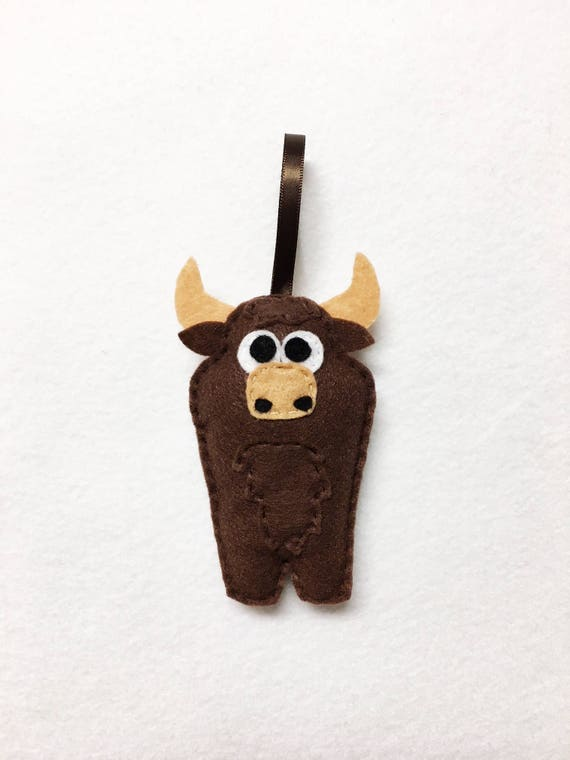 Bull Ornament, Christmas Ornament, Felt Ornament, Buster the Bull, Felt Animals, Stocking Stuffer, Farm Animal Ornament