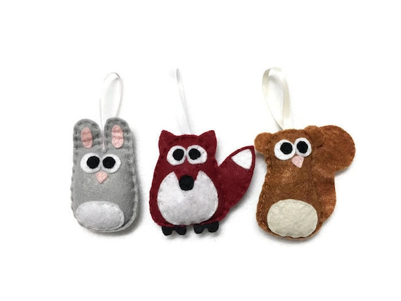 Baby Animal Christmas Ornaments, Squirrel, Fox, Rabbit - Set of Three Ornaments