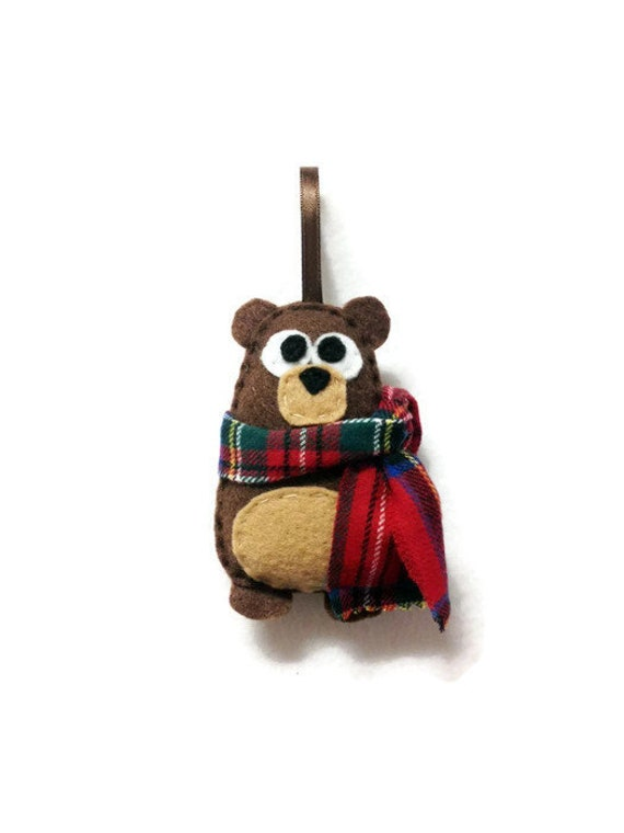 Bear Christmas ornament, Nester the Bear