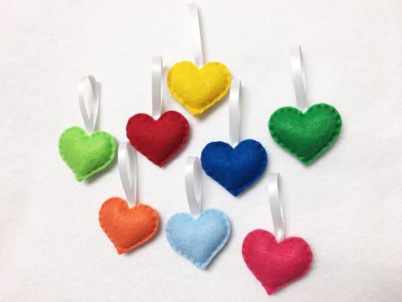Heart Ornament, Felt Ornament Set - Rainbow Love - 8 Hearts