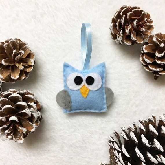 Felt Christmas Owl Ornament - Clara the Blue Baby Owl