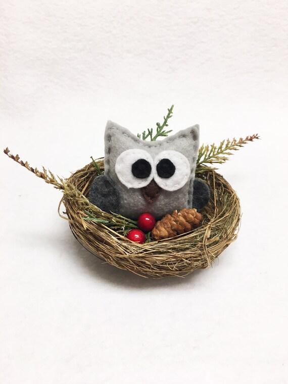 Owl Nest Christmas Ornament, Neutral Christmas Mantle Decoration, Farmhouse Christmas Decor