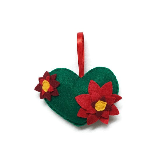 Heart Ornament, Poinsettia Ornament, Christmas Ornament