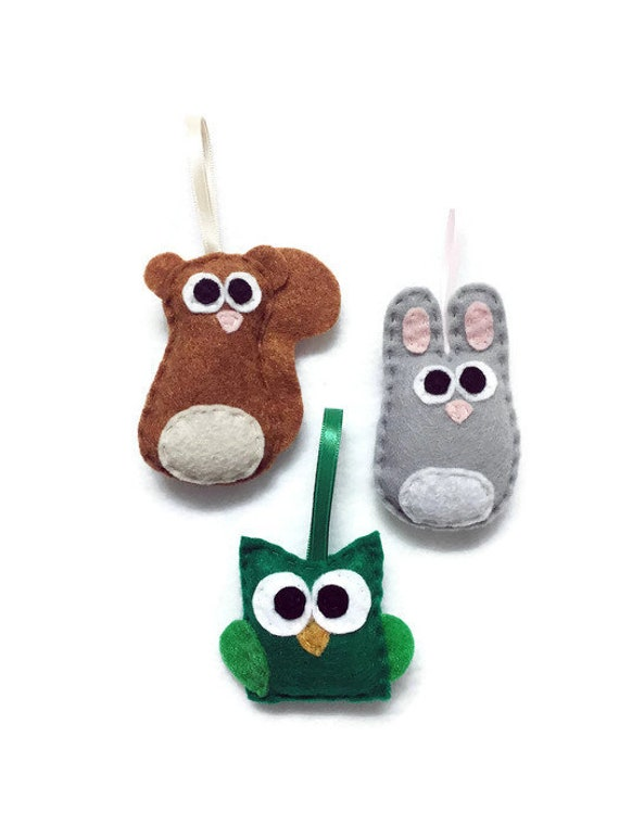 Baby Animal Christmas Ornaments, Squirrel, Owl, Rabbit - Set of Three Ornaments