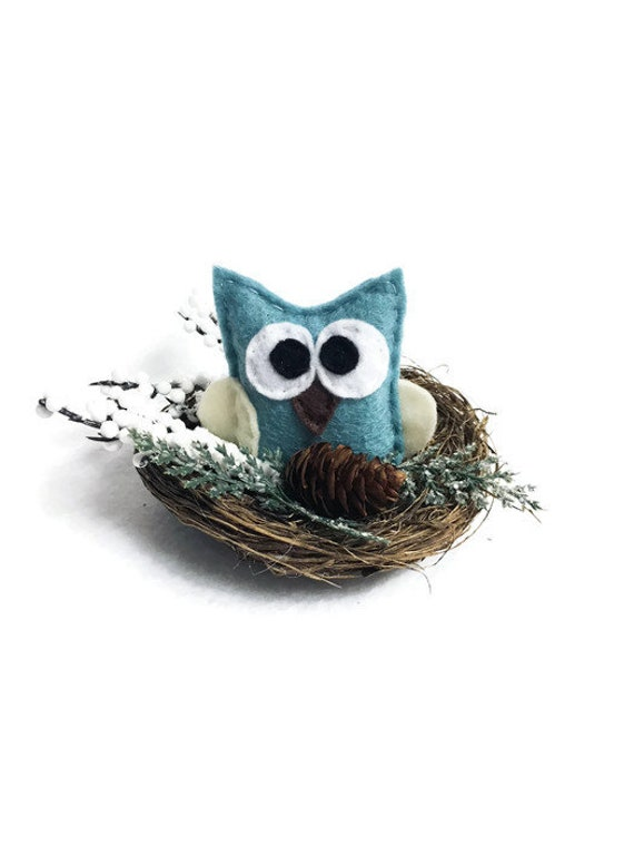 Owl Nest, Christmas Mantle Decoration, Wedding Table Centerpiece, Woodland Decoration, Blue Owl, Cabin Rustic, Farmhouse Decor