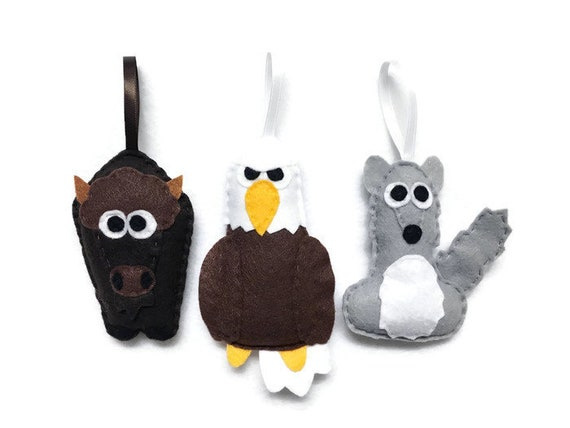 Yellowstone Ornaments, Buffalo, Coyote, Eagle - Set of Three Ornaments, Birthday Favors, Rustic Decoration, Christmas Ornament