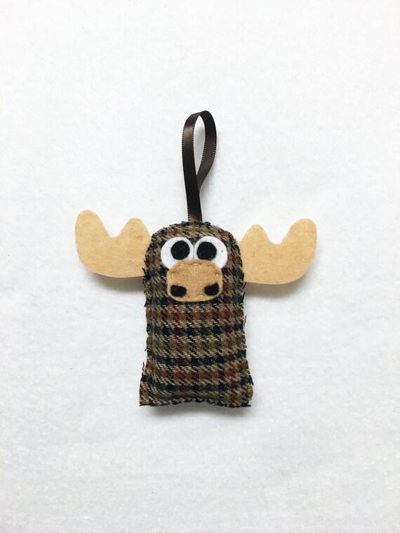 Moose Ornament, Plaid Christmas Ornament, Felt Ornament, Nolan the Moose, Woodland Animal, Gifts under 10, Stocking Stuffer