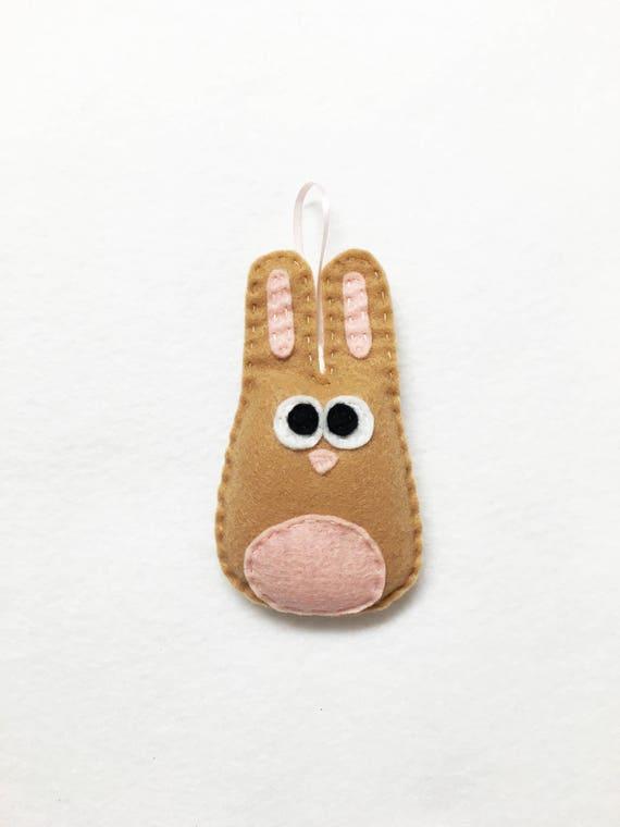 Rabbit Ornament, Bunny Ornament, Christmas Ornament, Beth the Tan Bunny, Woodland Animal, Felt Animal, Forest Creature