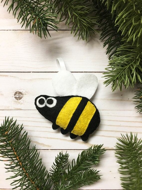 Bumble Bee Ornament, Christmas Ornament, Milton the Bumblebee - Made to order