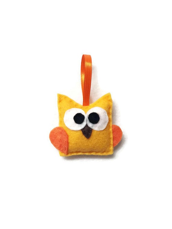 Baby Owl Ornament, Felt Ornament - Pendleton the Gold Baby Owl, Christmas Ornament, Gifts under 10