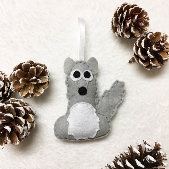 Coyote Ornament, Christmas Ornament, Felt Animal Ornament, Carl the Coyote