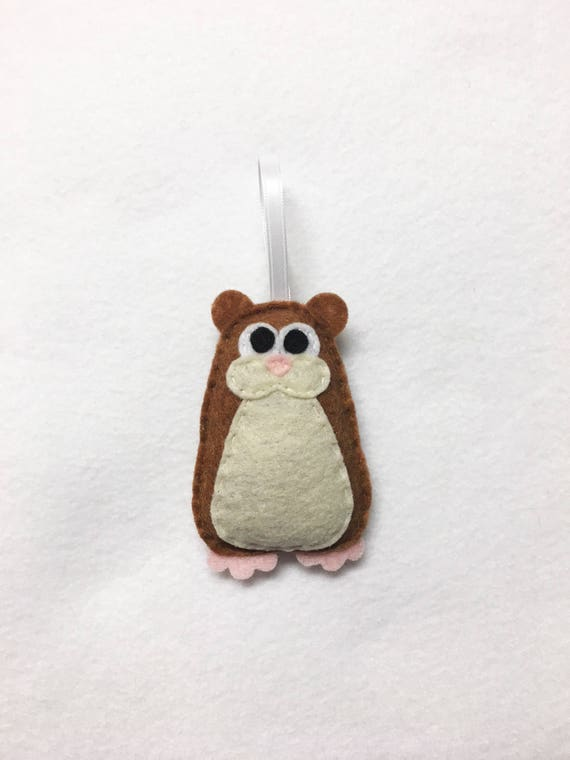 Hamster Ornament, Christmas Ornament, Hammy the Hamster, Felt Ornament, Pet Party Favor, Pet Decoration
