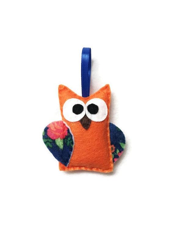 Owl Ornament, Felt Owl, Christmas Ornament - Constance the Orange Owl