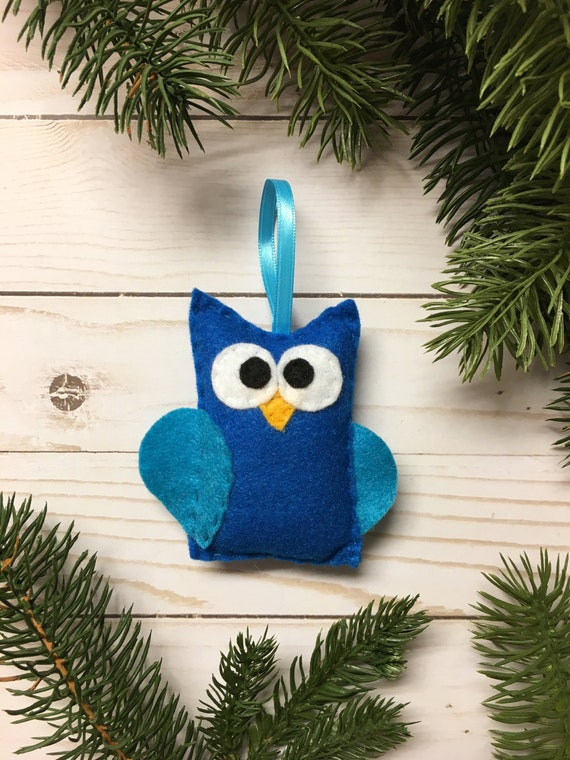 Owl Ornament, Christmas Ornament, Jerry the Blue Owl