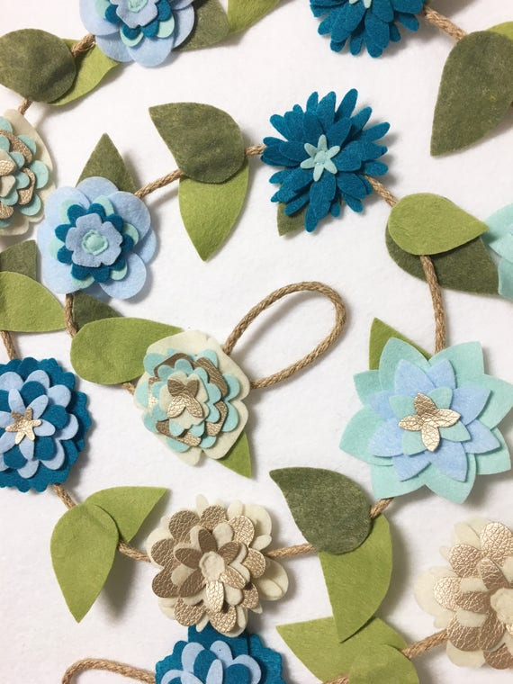 Flower Garland, Mermaid Blooms, Felt Flower Garland, Posable Twine, Mantle Decoration, Wedding and Party Decor