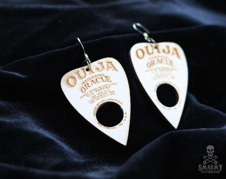 wood Ouija planchette earrings  halloween gothic occult image 0
