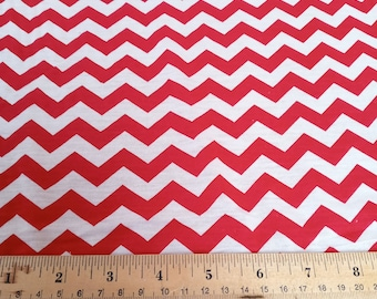 red and white chevron jersey knit stretch fabric