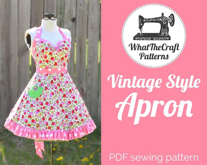Vintage Style Retro Apron  Printable PDF Pattern image 0