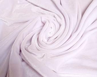 white stretch velvet knit velour fabric