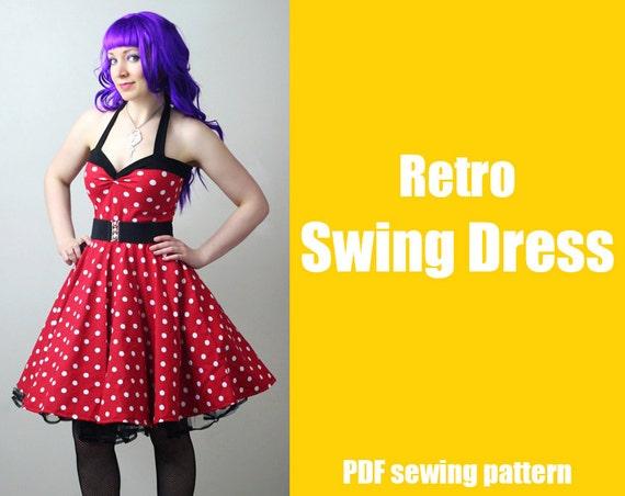 a824861d6cd5 Rockabilly Retro Swing Dress Printable PDF Pattern