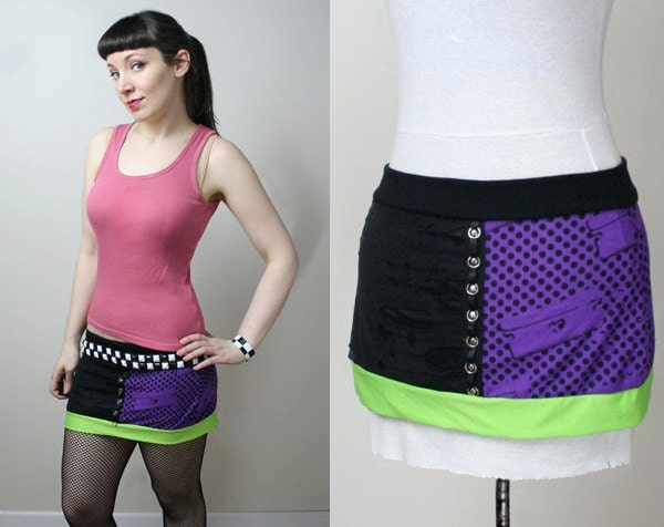 razor blade neon stud punk rock mini skirt smarmyclothes ...