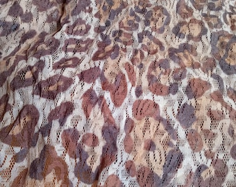 sheer lace leopard print stretch knit mesh fabric