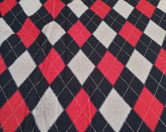 red and black argyle print lycra spandex knit fabric
