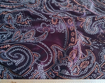 brown and gold paisley velvet knit stretch fabric