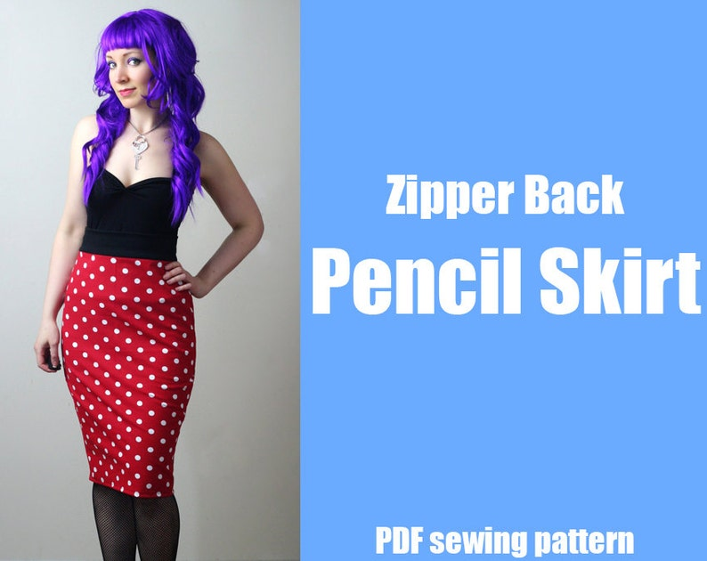 Zipper Back Pencil Skirt  Printable PDF Pattern image 0