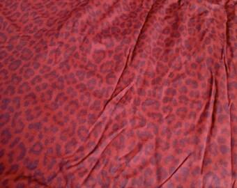 red leopard print stretch knit mesh fabric