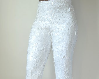 White Sequin Flare Pants