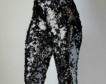 Black Sequin Wide Flare Pants