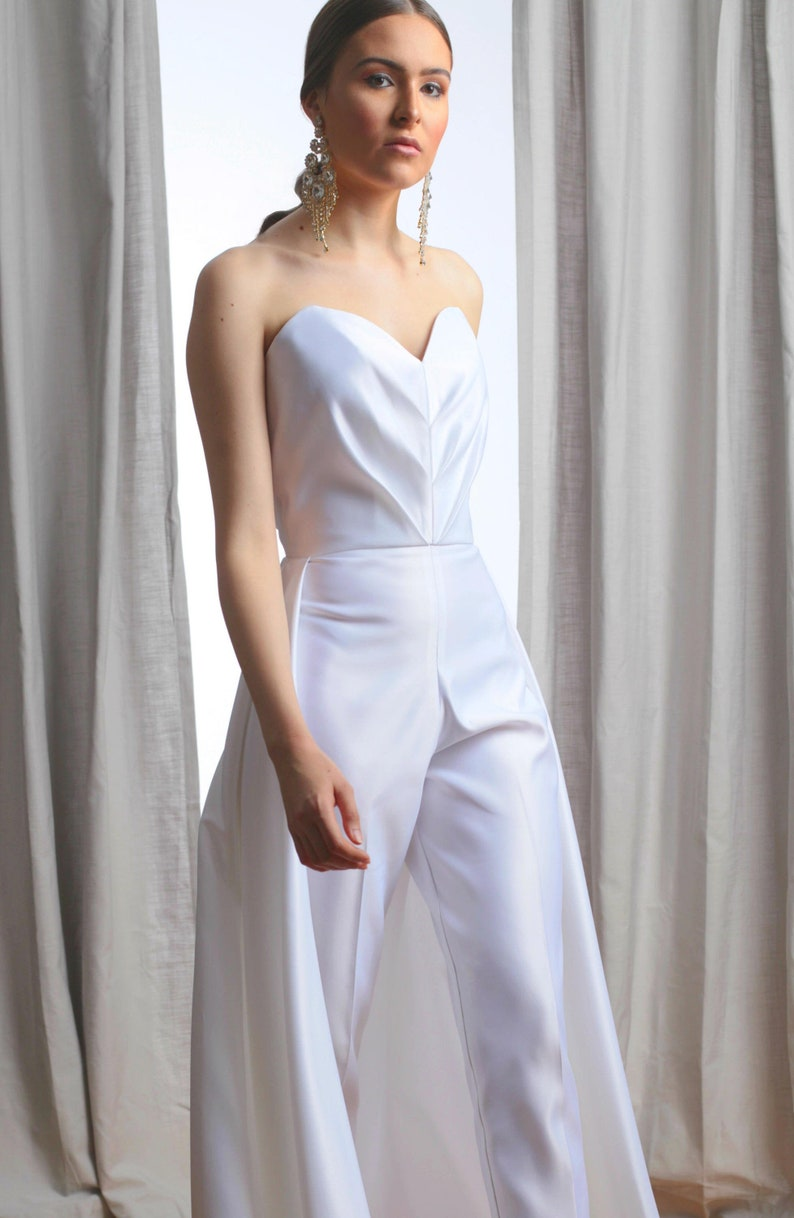 Vivian Pleated Sweetheart Strapless Bridal Jumpsuit image 0